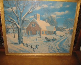 """ONE ROOM SCHOOLHOUSE-Vintage Print in Antique Frame 21 1/2"""" x 17 1/2"""""""