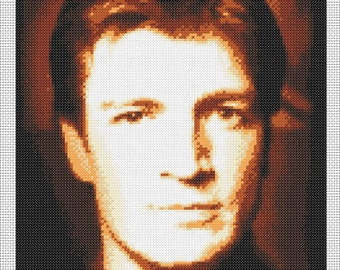 Firefly/Serenity Captain Malcolm Reynolds Portrait Cross-Stitch Chart (Nathan Fillion)