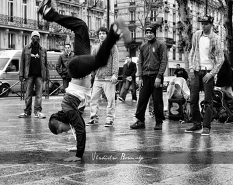 Black & White street photography of break dancers  - 8x10 photograph