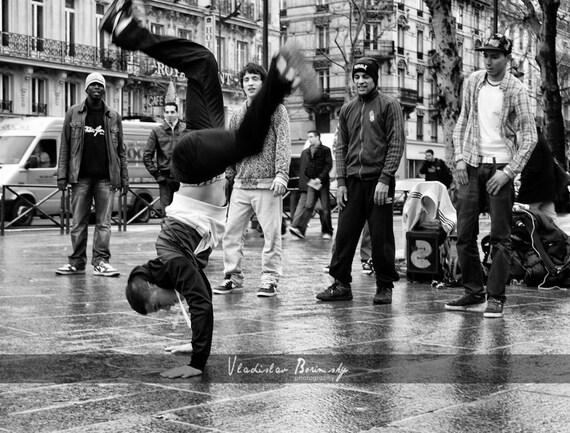 Black & White street photography of break dancers  - 8x10 photograph
