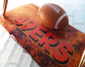 1980s 49er Football Desk Pen Holder Wood Miniature Football