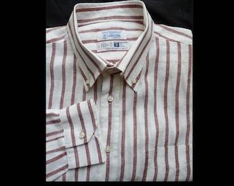 Mens linen shirt striped Ugo Collelo por L'Ancor  Dress Portofino 19/47 Vintage 80s 90s