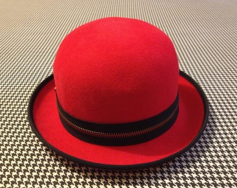 1990's, red, wool, bowler hat, with black, zipper band, by Betmar