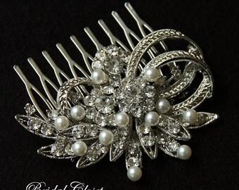 Bridal Hair Comb, Rhinestone Pearl Comb, Crystal Bridal Comb, Wedding Hair Comb, Hair Comb, Wedding Comb, Bridal Headpiece, Bridal Comb