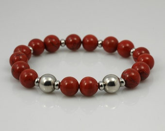 Stainless steel and red jasper stretch bracelet
