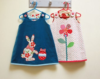 Sewing pattern PETAL REVERSIBLE Dress with Easter Bunny applique girls pdf dress sewing pattern sizes 6 - 9 mths to 8 yrs 2 designs included
