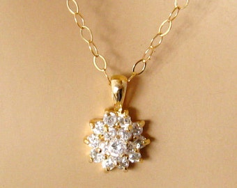 Gold Cubic Zirconia Necklace, Gold CZ Necklace, Cubic Zirconia Gold Necklace, Gold CZ Cluster Necklace, Gold Fill Chain
