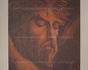 "GORGEOUS!~""Calvary"" Christmas Jesus Crucifixion Gallery Quality Metamorphic Art Print by Octavio Ocampo"