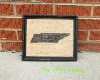 State Frame on Burlap with Black, Distressed Frame-You pick the state, size, color, and finish!!!