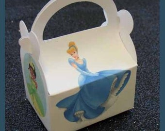 jasmine, tiana, arurora, cinderella ,disney princess party favor box, disney princess  birthday favor box