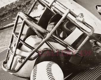 Vintage Baseball Portrait Boys Room Decor - Black White Photo - Catchers Mask/Helmet - Coach Gift