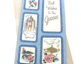 Vintage Graduation Card, Vintage 1950's Greeting Card, Castle and Roses Theme
