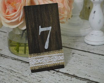 burlap and lace wedding table numbers, shabby chic table numbers, rustic wedding decor