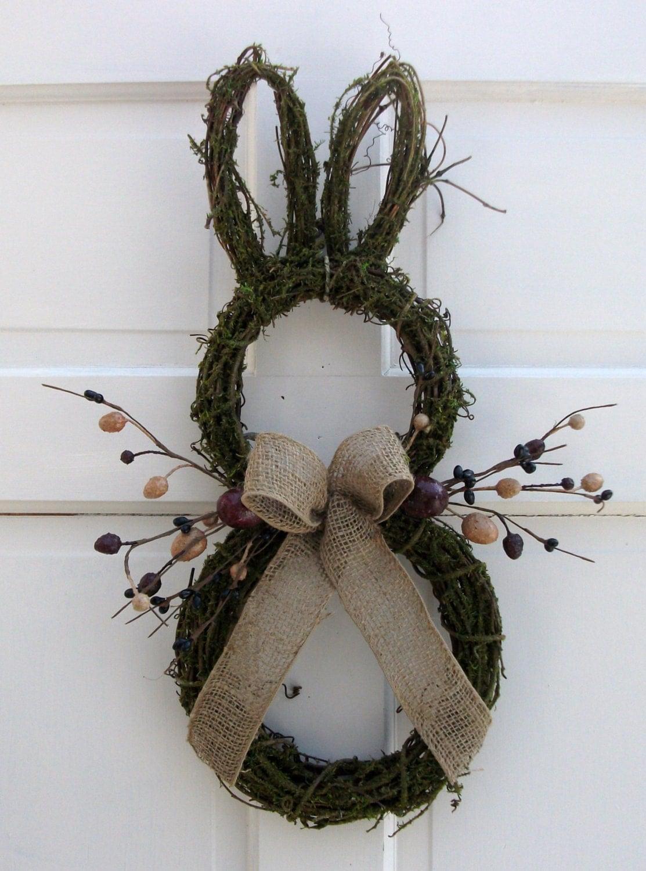 primitive country easter bunny door wreath with berries eggs. Black Bedroom Furniture Sets. Home Design Ideas