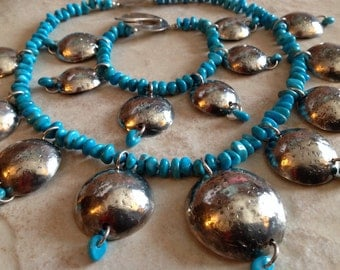 Handmade Turquoise And Silver Necklace And Bracelet