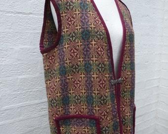 Tapestry waistcoat 1970s vintage welsh tapestry gilet sleeveless jacket clothing wool vest vintage jerkin top Welsh waistcoat large ladies.