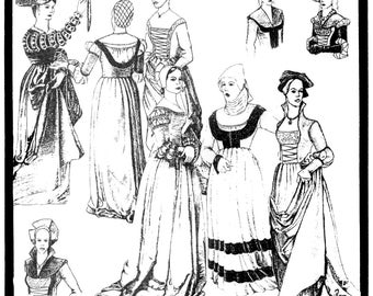 German Puff-and-Slash Gowns 1500-1545 Renaissance era Costume  Period Patterns Sewing Pattern #46 sizes 6-20