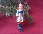 Rare Soviet Vintage Little Red Riding Hood Christmas Ornament, Made of Glass in USSR in 1970s.