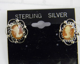 Sterling Silver Cameo Vintage Post Earrings #5502