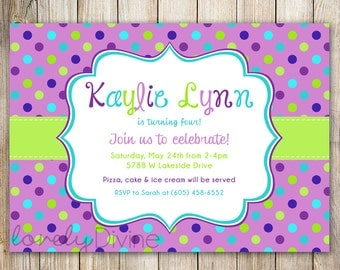 Purple Polka Dots Birthday Invitation, 1st Birthday Invitation, 2nd Birthday Invitation, 3rd Birthday, 4th, 5th, 6th, 7th, etc, PRINTABLE