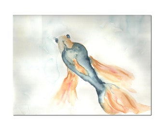 blue fish original watercolor painting size 12 x 9 in