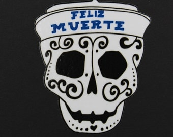 Day of the Dead Art Sugar Skull Car Sticker wearing Felix Muerte Baseball Cap. #53
