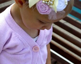 Three Rosettes headband, Baby Girl Headband, Newborn Photo Prop, Infant Headband, Toddler Hairpiece, Pastel Headband