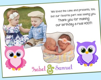 Owl Sibling Note Card/Thank You with photos - Pink and Purple, Girl, twins, Custom - Printable - 5x7