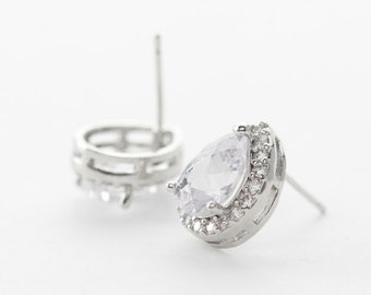5528012 / CZ Teardrop / Rhodium Plated Brass with CZ / 925 Sterling Silver Post 11mm x 13.7mm / 2.3g / 2pcs