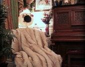 "70"" Brown Tip  / Alaskan Fox Faux Fur Throw Blanket / Soft plush pelt / Imitation Fur Throw / New"