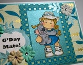 G'Day Mate!  Little Girl holding Koala - Handmade Greeting Card - Card in Teal and Tan