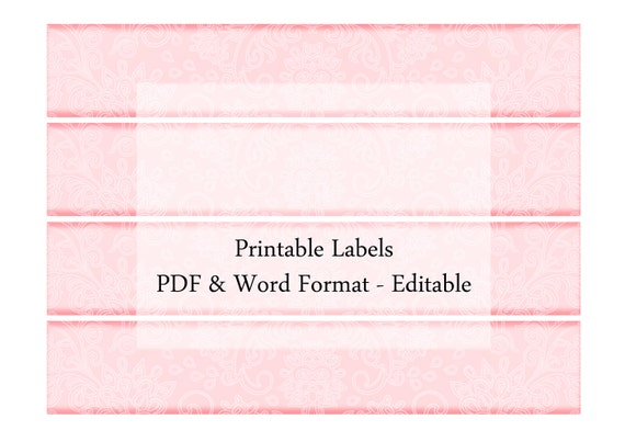 soap candle label band  digital printable editable pastel red