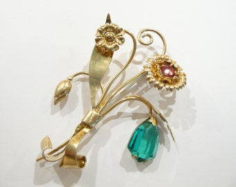 Vintage Gold Filled Floral Brooch / Pin Gorgeous Stone