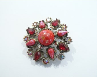 Pretty Vintage Red Glass & AB Rhinestone Brooch / Pin