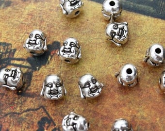 Bulk 40 Happy Buddha Head Charms Antiqued Silver Tone Doubled sided 3D Wholesale Lot 10 x 10 mm