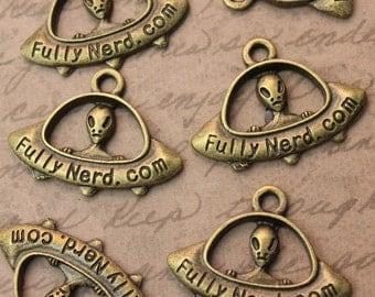 8 UFO Charms/Pendants Antiqued Bronze  20 x 30 mm