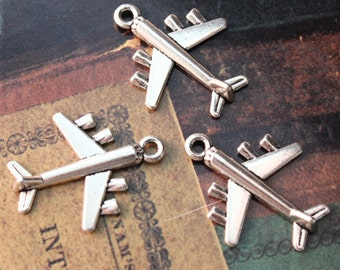 10 Airplane Charms Airplane Pendants Antiqued Silver Tone Double Sided 3D 23 x 23mm
