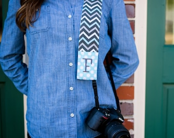 Monogrammed chevron camera strap cover (blue/gray)
