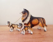 Vintage Ceramic Collie Dog Figurine with Two Puppies / 1950s Japanese Dog Figurines