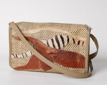 Vintage Carlos Falchi Purse Shoulder Bag with Woven Straw and Assorted Animal Skins