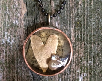 Etched Heart Soldered Copper bezel filled with Resin NR-016
