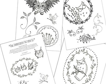 owl pack embroidery patterns halloween printable set of digital downloadable pdf hand embroidery birds vines 0085 - Halloween Hand Embroidery Patterns