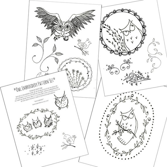 Owl Pack Embroidery Patterns Halloween Printable Set Of