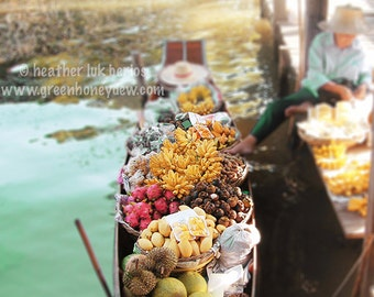 Thailand Photography - Water Market Fruit Vendor - Bangkok - Fine Art Photography - Yellow Pink