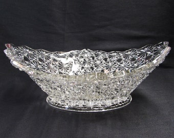 EAPG Glass Daisy and Button Bowl Oval Diamond Glass Bowl