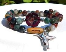 Hummingbird Bracelet, Journey Bracelet, New Beginnings, Nature Jewelry, Goodbye Gift, Woodland Bracelet, Boho Bracelet