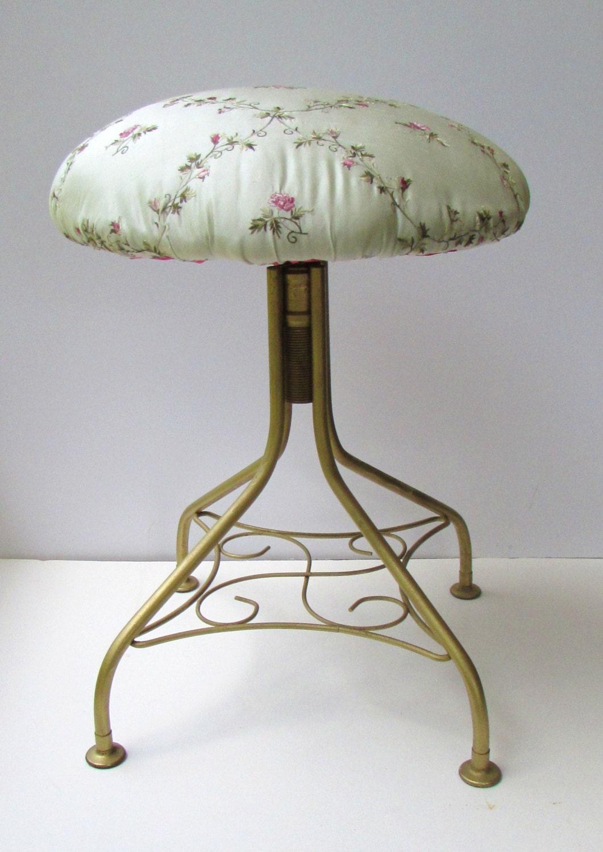 refurbished mid century modern vanity stool embroidered silk