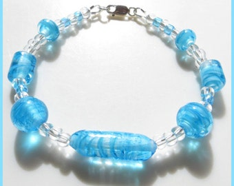 Handmade Lampwork Blue Filigrana Glass Bracelet