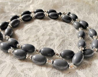 Vintage Gray and Silver Bead Necklace, Chunky, Costume Jewelry, Retro