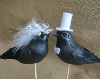 Elegant Raven Wedding Cake Topper, Love Bird Wedding Cake Topper, Victorian Wedding Cake Topper, Steampunk wedding, black bird cake topper